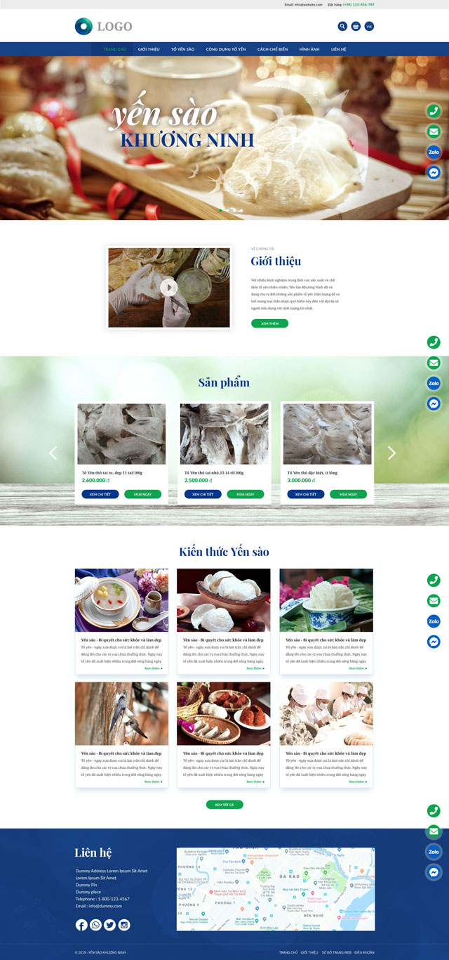 Thiết kế website Yến Sào Khương Ninh
