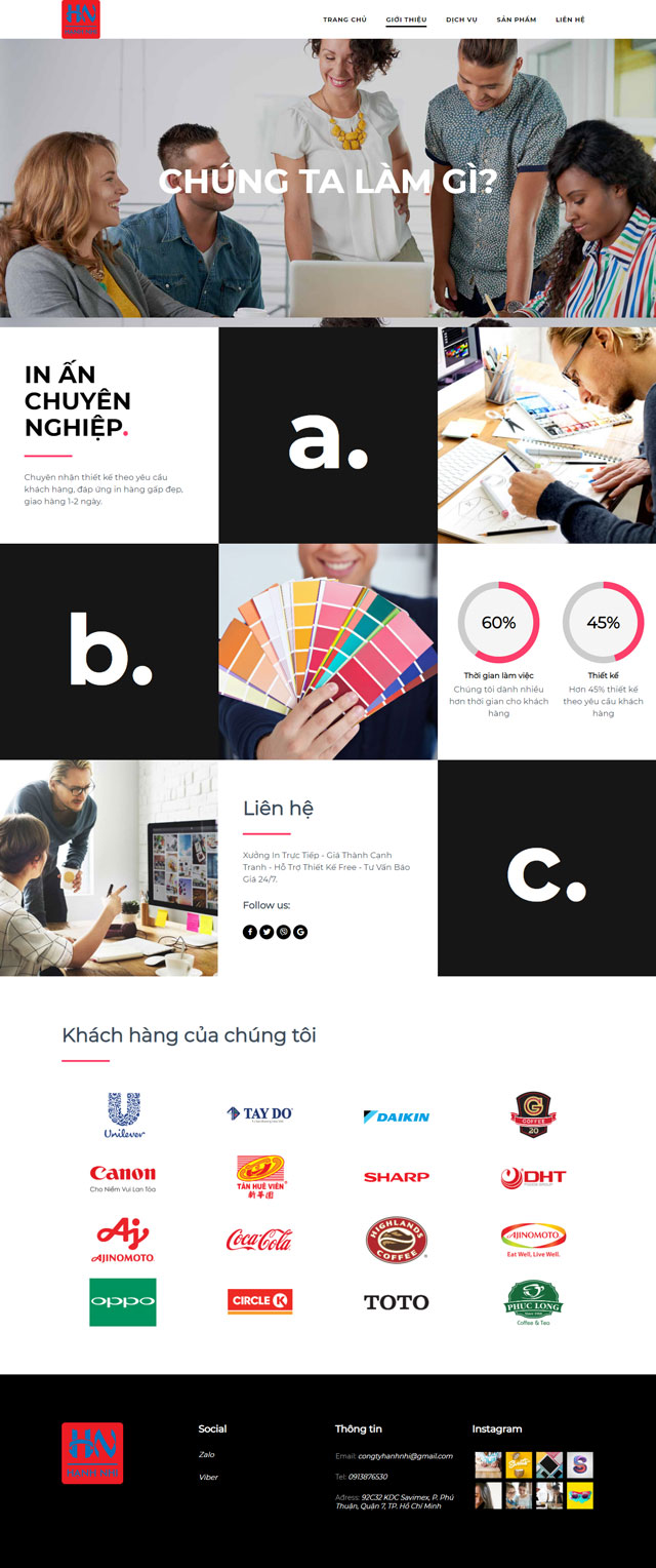 Thiết kế lập trình website Hanh Nhi Print