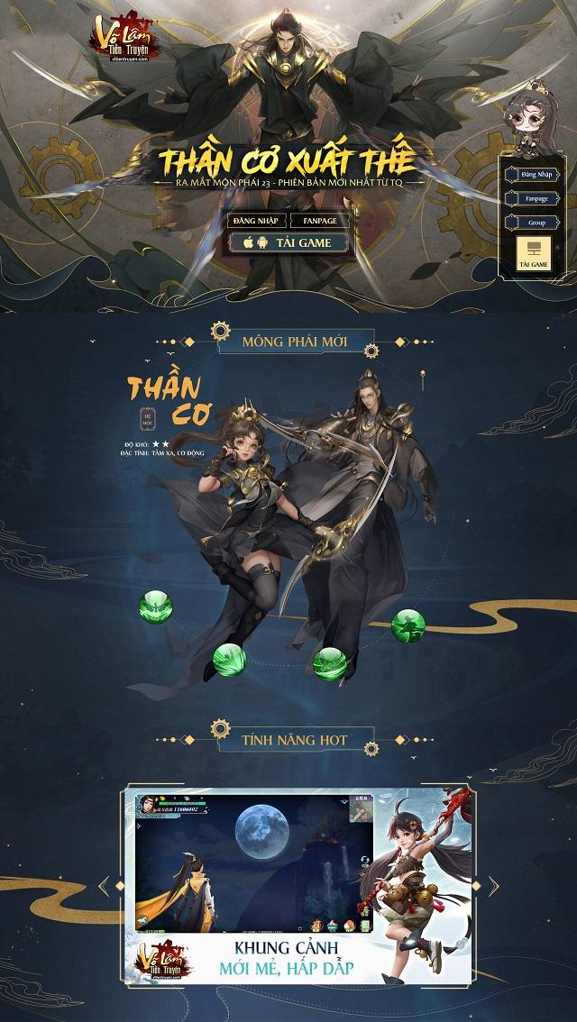Thiết kế landing page game Võ Lâm Tiền Truyện
